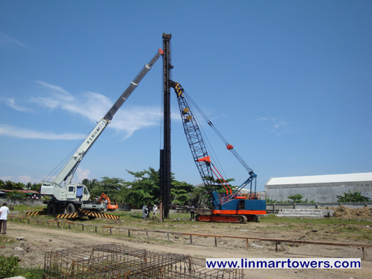 Image of the pile driving at Linmarr Towers Condominium Complex
